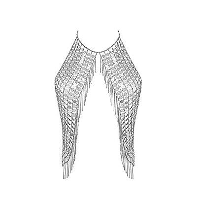 Women's Body Belly Chain Silver Bra Jewelry Sexy Necklace Bikini for Beach Party