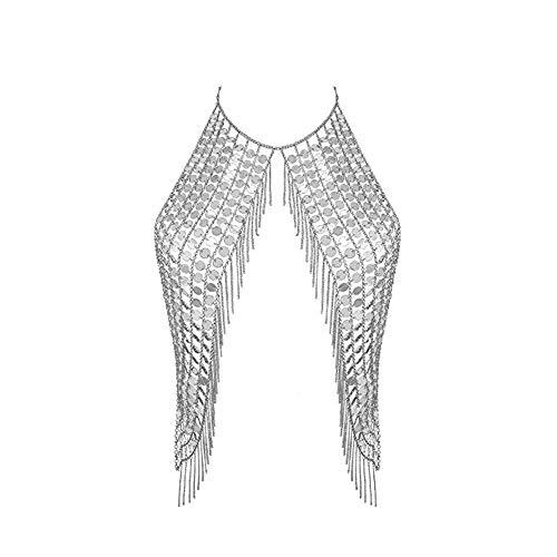 - Women's Body Belly Chain Silver Bra Jewelry Sexy Necklace Bikini for Beach Party