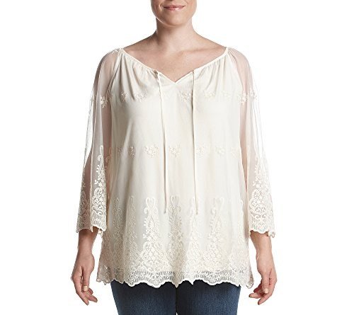 Agb Plus Size Top Novelty Lace Peasant Top 1X
