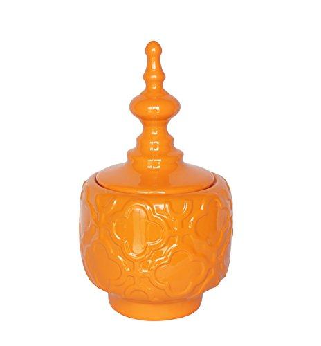 Sagebrook Home 12247-02 Modern Ceramic Decorative Covered Jar, Orange Ceramic, 7 x 7 x 12.25 Inches