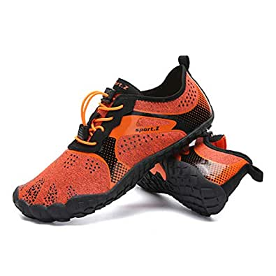 HooyFeel Men Women Water Shoes Barefoot Beach Swim Shoes Multifunctional Quick-Dry for Surfing Yoga Exercise Orange Size: 5.5