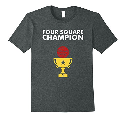 Champions Square (Mens Four Square Champion TShirt for 4 Square Players Small Dark Heather)