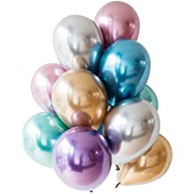 Enfei 50pcs 11inch NEW Metallic Double Latex Balloons Thick Pearly Metal Chrome Alloy Colors Photograph Wedding Party Decoration Balloons