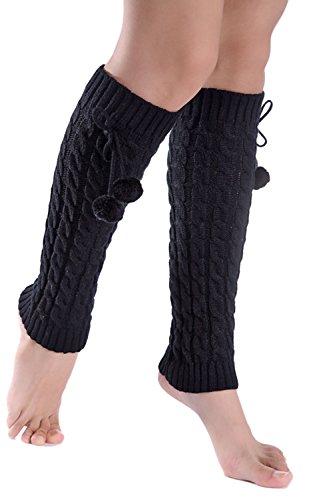 Invierno frío tiempo sólido mujer punto pata arranque cubiertas Black