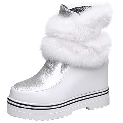 AIYOUMEI Womens Roud Toe Increased Internal Platform Snow Boots Winter Ankle Boots White uFZ0z