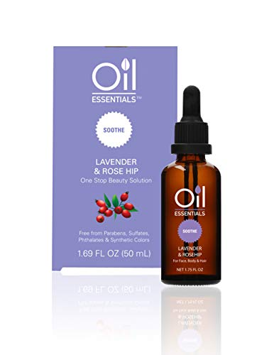 Oil Essentials Soothe Lavender & Rose Hip Beauty Solution - Natural Healing Oil for Face, Skin, Hair, and Nails - Free of Parabens, Sulfate, Phthalate, and Synthetic Color 1.69 fl oz (50ml)