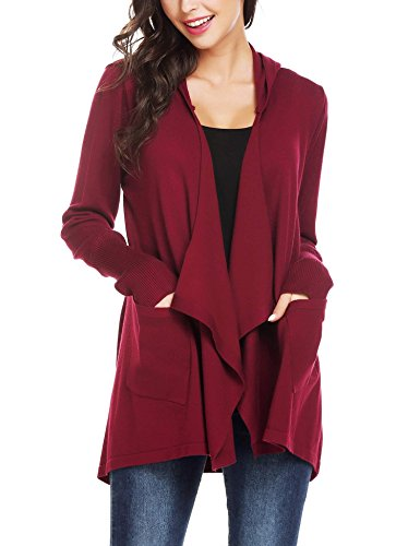 Mofavor Womens Basic Comfy Flowy Long Line Open Front Knit Hooded Cardigan with Pockets Wine Red M