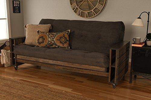 Kodiak Furniture KF Tacoma Full Futon in Rustic Walnut Finish, Suede ()