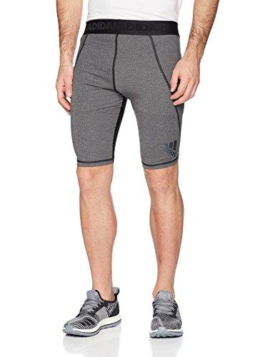 adidas Mens Training Alphaskin Sport Short Tights, Dark Grey Heather/Black, Medium