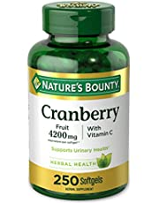 Cranberry Pills w/ Vitamin C by Nature's Bounty, Supports Urinary & Immune Health, 4200mg Cranberry Supplement, 250 Softgels