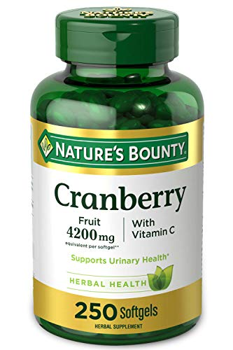 Cranberry Pills w/ Vitamin C by Nature's Bounty, Supports Urinary & Immune Health, 4200mg Cranberry Supplement, 250…