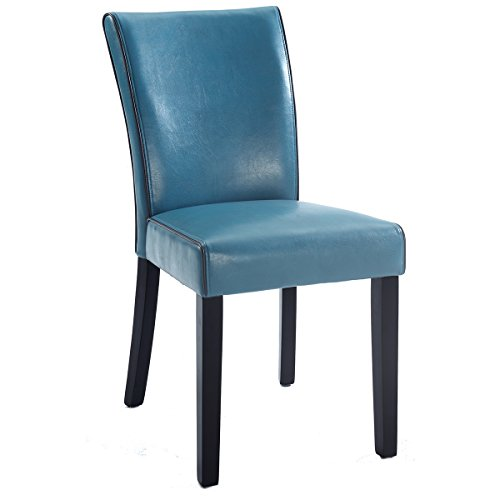 Milan Meadow Bonded Leather Parsons Chair, Set of 2, Blue (Bonded Leather Parson Chair)