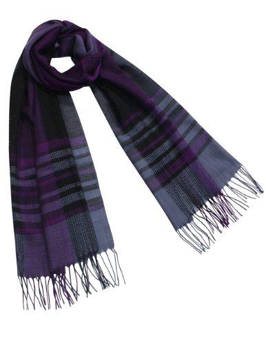 Dahlia Men's 100% Merino Wool Pashmina Scarf - Vintage Mesh Plaid - Purple (Vintage Wool Scarf)