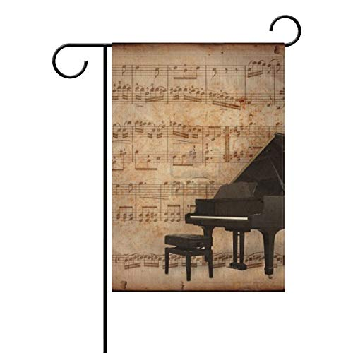 (Garden Flag Piano and Retro Sheet Music Double Sided Festival Holiday Decoration for Outdoor Family Party 12 x 18 Inch)
