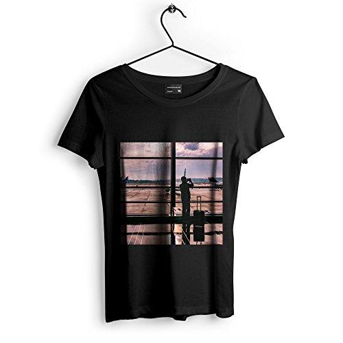 Westlake Art Window Airport - Unisex Tshirt - Picture Photography Artwork Shirt - Black Adult Medium (None-7661E)