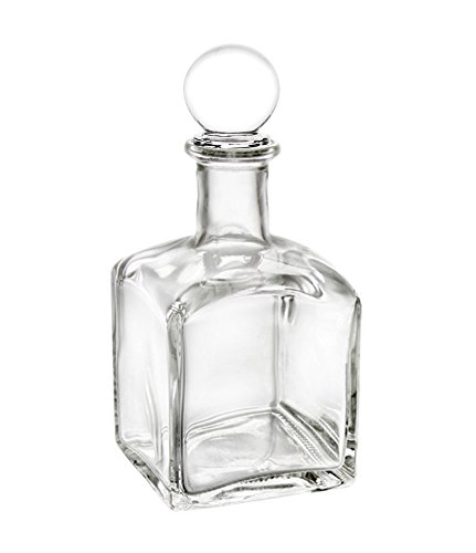 Perfume Studio Clear Square Bottle with an Air Tight Glass Stopper; 7oz / 210ml Lead Free Glass Bottle. Ideal for Essential Oils, Perfume Oils, Diffuser Reeds, Cooking Oils, Extracts, Salad Dressings - Perfume Bottle Glass Stopper