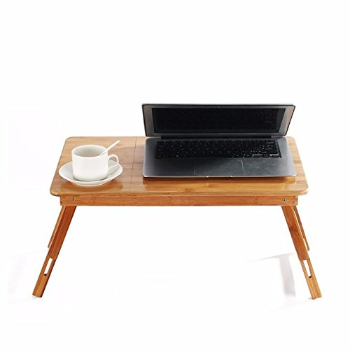 Dingji Bamboo Adjustable Laptop Desk Breakfast Serving Bed Tray w' Tilting Top Drawer