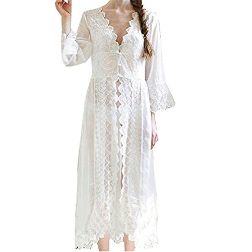 Singingqueen Women Nightgown Chiffon Embroidery Dress Sheer Lace Nightwear Sleepwear Cover up Sexy Robe Pajamas (White, Medium)