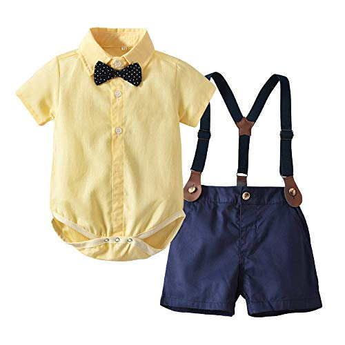 - Moyikiss Studio Baby Boy Gentleman Outfit Long Sleeve Shirt with Bowtie Suspender Pants Casual Suit (Yellow-Shorts, 80/12-18Months)