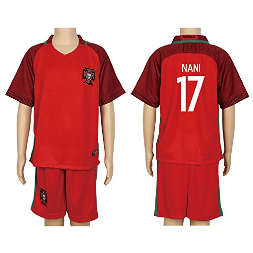 Portugal Replica Jersey (2016 UEFA Euro #17 Nani Red Home Kids Soccer Jersey & Short Kit)