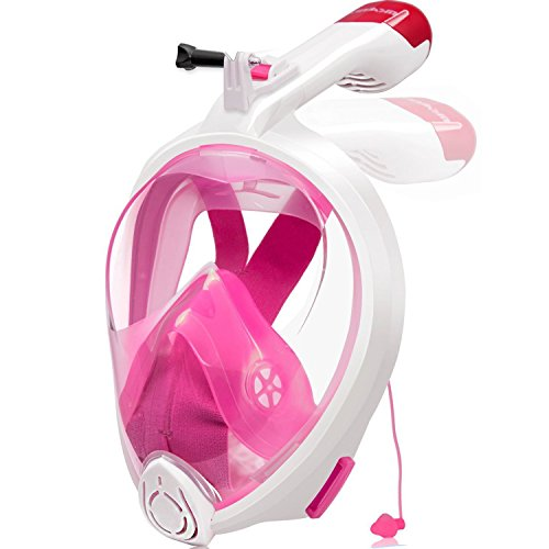 (Kinbom Full Face Snorkel Mask, 180°Broad Viewing Foldable Snorkeling Mask with Easy Breath Dry Top Set Anti-fog and Earplug Detachable Mount for GoPro Christmas Gift for Adults&kids (Pink, L/XL))