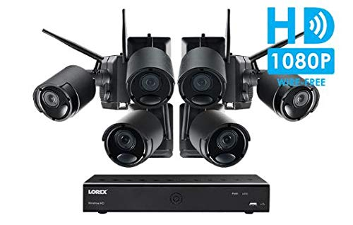 Lorex Wire-Free Cameras Security System 6 Channel DVR 6 HD Rechargeable Wire Free Black Metal Cameras(Ultra-Wide Lens, 150′ Night Vision, 2-Way Audio Speaker-Mic)