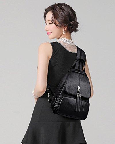 Main Xinwcang Cuir a dos à Loisir Noir de à élégant Bandoulière Sacs Femme Sac à Sac Collège en Vintage PU dos rwtrH6