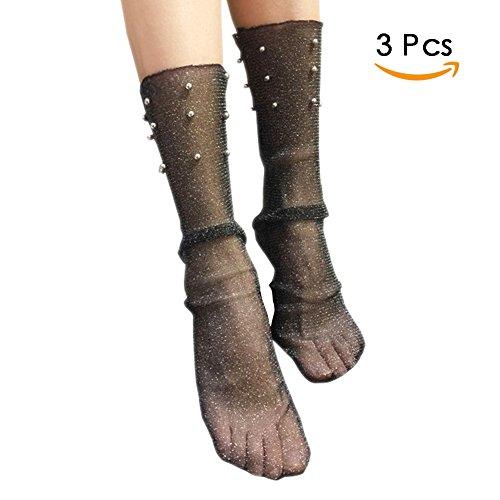 MaiYi Elegant Bead Sheer Slouch Loose Socks Summer Transparent Lace Socks Ultrathin Silver Silk Socks