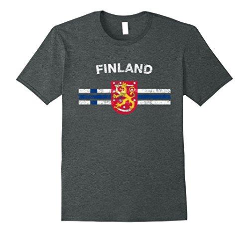 Mens Finnish Flag Shirt - Finnish Emblem & Finland Flag Shirt 2XL Dark Heather (Of Arms Coat Finnish)