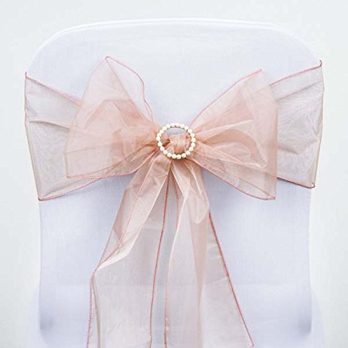Organza Wedding Sashes - Efavormart 25pc x Wholesale Sheer Organza Chair Sashes Tie Bows for Chairs -Catering Wedding Decoration - Dusty Rose