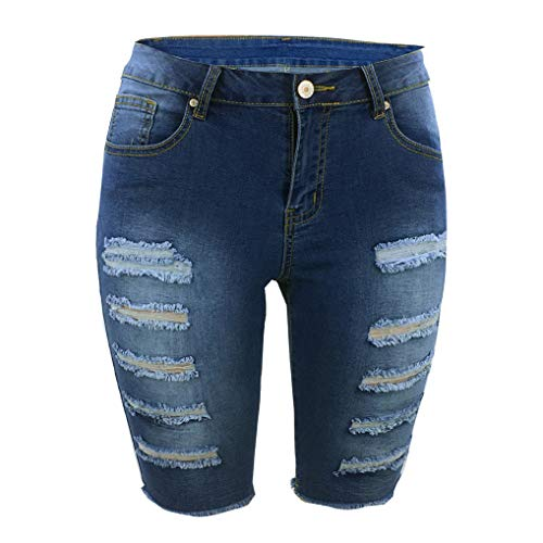 - THUNDER STAR Womens Denim Ripped Bermuda Shorts Distressed Knee Length Stretch Short Jeans Blue2 L