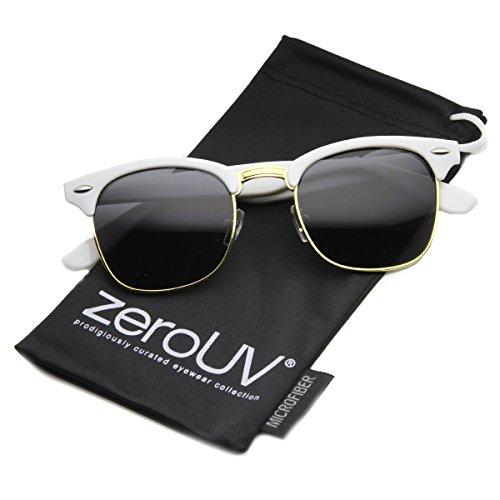 Premium Half Frame Horn Rimmed Sunglasses with Metal Rivets (Color Series | ()
