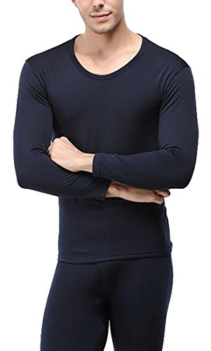today-UK Men's Heat Retention Warm Comfy Thermal Long Underwear Set Blue