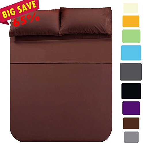 Shilucheng Bed Sheet Set Microfiber 1800 Threads Egyptian Super Soft Sheets 16-Inch Deep Pocket - Hypoallergenic - 4 Piece (King, Brown) - Comfortable Sheets