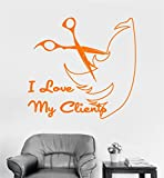 paiea Mural Saying Wall Decal Sticker Art Mural Home Decor Quote Hairdresser Hair Salon Stylist Barber I love my Clients with scissor