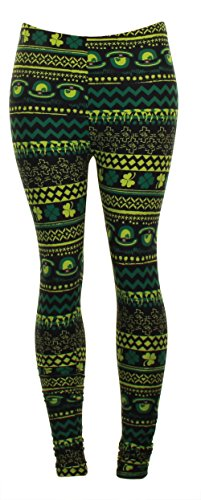 Just One ST Patrick's Day Soft Leggings Argyle Green Shamrock Clover Irish Pride Print (Large, Hat Green Shamrock)