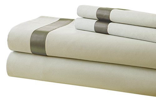 Amrapur Overseas Super Soft 400 Thread Count 100/% Combed Cotton 4-Piece Bed Sheet Set with Satin Band Linen//Taupe, Full 10400BDG-LNT-FL