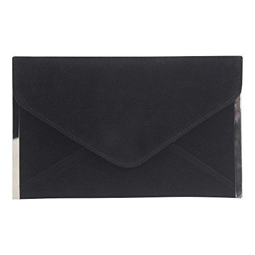 Wocharm Womens Party Clutch Faux Suede Envelope Bag Evening Handbag Shoulder Bag Black