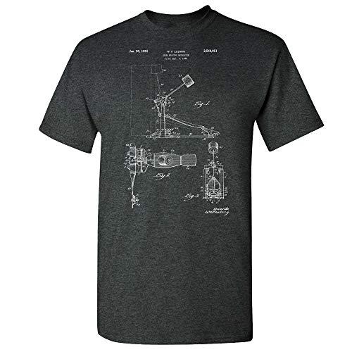 Kick Bass Drum Pedal T-Shirt, Drummer Gift, Kick Pedal, Rock Band, Music Teacher, Music Studio, Drum Gear, Band Director Dark Heather (Medium)