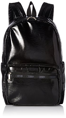 LeSportsac Women's Classic Essential Backpack, Black Crinkle Patent by LeSportsac