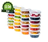 Deli Plastic Food Storage Containers with Airtight Lids [50 Sets] 8oz