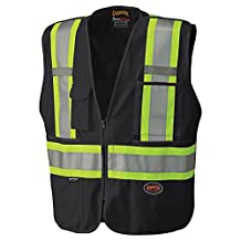 Pioneer V1021170-M Tear-Away Reflective Safety Vest, Mesh Back, Black, M