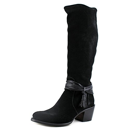 Lucchese Bootmaker Womens BK Suede Tall W/Ankle Tie Black