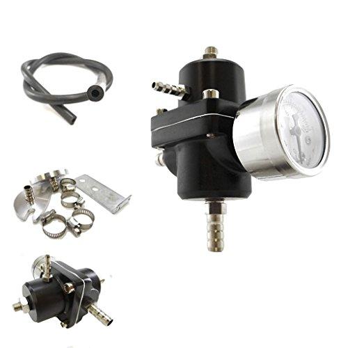 Universal Aluminum 0-140 PSI Adjustable Fuel Pressure Regulator with Gauge and Hose - Gauge Black Fuel