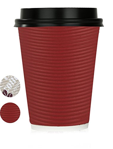 Disposable Hot Coffee Insulated Cups By Golden Spoon - 50 Pack Set Complete With Lids - Stylish Contemporary Ripple Design - Perfect For Take Away Coffee Shops And Bars (12 oz, Red)