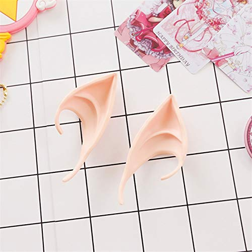 HeroStore Angel Elf Ears Cosplay Accessories LARP Halloween Party Latex Soft Pointed Prosthetic Tips False -