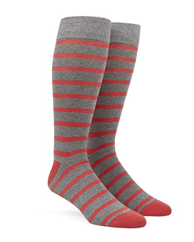 The Tie Bar Trad Stripe Coral Men's Cotton Blend Dress Socks