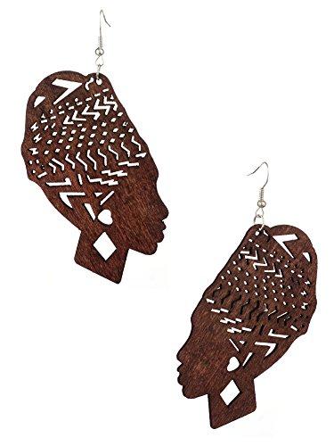 Womens Wooden African Woman Turbanista Figure Dangle Pierced Earrings
