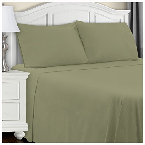 Superior Extra Soft Highest Quality All Season 100% Brushed Cotton Flannel Solid Bedding Sheet Set with Deep Pockets Fitted Sheet - Sage, California King Size (Deep Pocket Flannel Sheets)