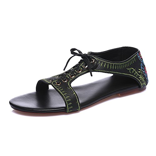 AgooLar Women's No Heel Assorted Color Lace Up Open Toe Sandals Black